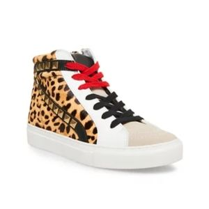Steve Madden Leopard High Top Sneakers Tracey 10